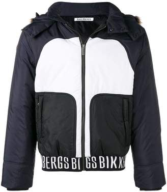 Dirk Bikkembergs panelled fur trim jacket