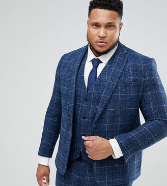 Asos DESIGN PLUS Slim Suit Jacket in 100% Wool Harris Tweed In Blue Check