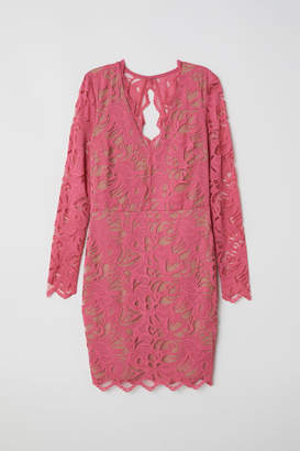 H&M Fitted Lace Dress - Pink