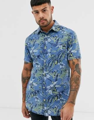 Jack and Jones Originals printed short sleeve shirt in blue