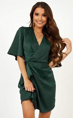 Showpo My Eyes Caress You Dress In Emerald Green Satin