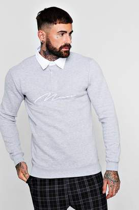 boohoo MAN Signature Embroidered Rugby Sweat