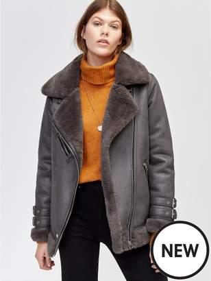 Warehouse Faux Fur Pu Aviator Jacket