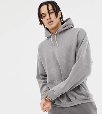 Reclaimed Vintage inspired oversized overdye hoodie in charcoal