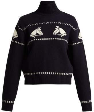 ALEXACHUNG Horse Jacquard Roll Neck Wool Sweater - Womens - Navy Print
