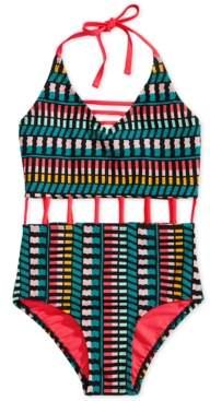 Summer Crush Big Girls 1-Pc. Printed Cutout Swimsuit