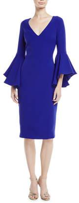 Badgley Mischka Flair-Sleeve V-Neck Sheath Dress