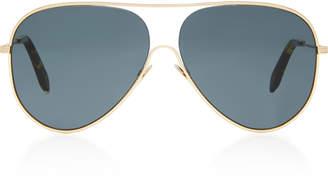 Victoria Beckham Gold-Tone Metal Aviator Sunglasses