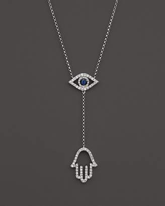 """Bloomingdale's Sapphire and Diamond Evil Eye Hamsa Y Necklace in 14K White Gold, 16"""""""