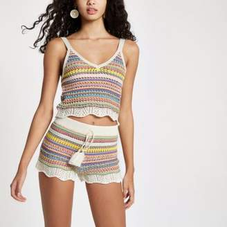 River Island Womens Pink knitted stripe crop top