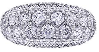 Platinum-Plated Sterling Simulated Diamonds Band Ring