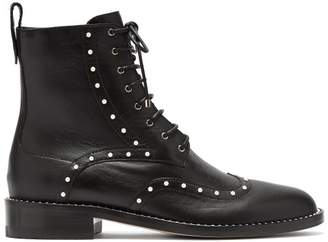 Jimmy Choo Hanah Faux Pearl Studded Leather Boots - Womens - Black