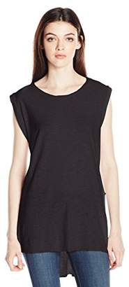 Comune Michelle By Junior's Highgrove-Pre Washed High Low Tank Top Tee
