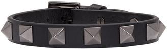 Valentino Balck Leather Rockstud Bracelet $195 thestylecure.com