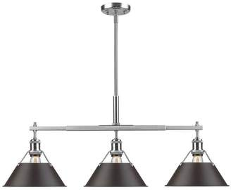Golden Lighting 3306-LP PW-RBZ Orwell - Three Light Linear Pendant, Finish with Rubbed Bronze Shade