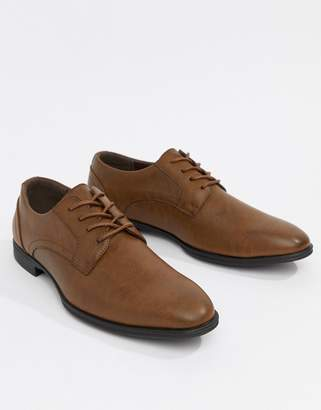New Look Faux Leather Derby Shoes In Tan