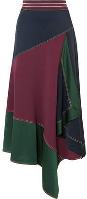 Peter Pilotto Asymmetric Paneled Cady Midi Skirt - Burgundy