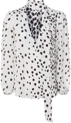 Rixo London Moss Pussybow Spotted Blouse