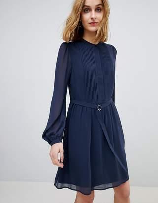 Warehouse Blouson Sleeve Belted Chiffon Shirt Dress