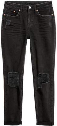 H&M Boyfriend Slim Low Jeans - Black