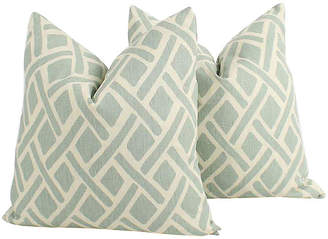 One Kings Lane Vintage Seafoam Tribal Linen Pillows - Set of 2 - Ivy and Vine