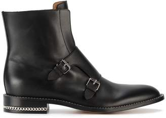 Givenchy Black monk strap leather ankle boots