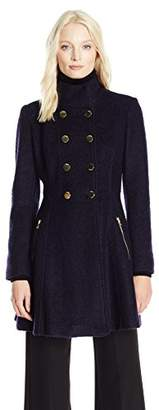 GUESS Women's Wool Boucle Military Flared Coat $196 thestylecure.com