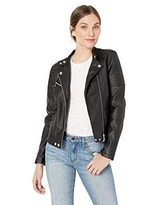 Urban Republic Women's Faux Leather Moto Jacket Quilted Sleeve