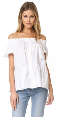RED Valentino Poplin Off The Shoulder Blouse $350 thestylecure.com