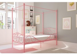DHP Canopy Twin Metal Bed with Mattress, Multiple Colors