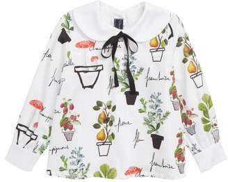 Oscar de la Renta Flower Pots on Cotton Blouse