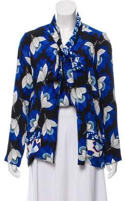 Warm Long Sleeve Printed Cardigan