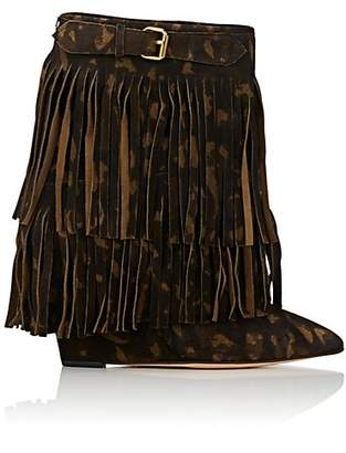 Jerome Dreyfuss WOMEN'S CAMOUFLAGE FRINGED SUEDE WEDGE ANKLE BOOTS