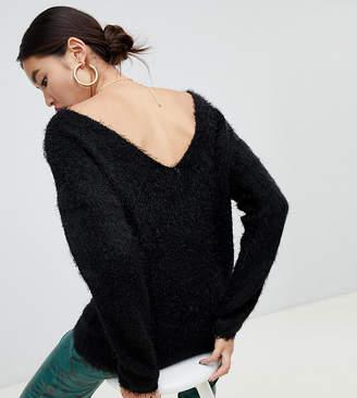 NA-KD Na Kd fluffy low back sweater in black