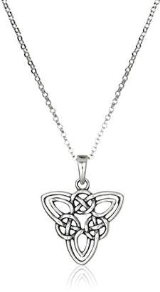 Celtic Sterling Oxidized Triquetra Trinity Knot Pendant Necklace