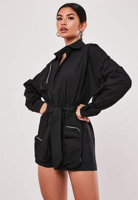 Missguided Black Oversized Cargo Utility Romper