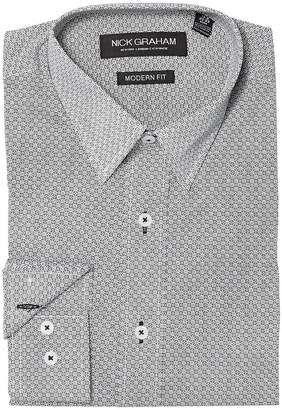 Nick Graham Square Hole Print Stretch Shirt Men's Clothing