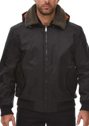 Rainforest Faux Shearling Collar Bomber Jacket