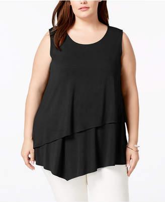 Alfani Plus Size Tiered Asymmetrical-Hem Top, Created for Macy's