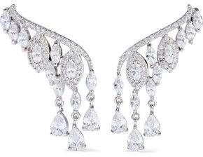 Kenneth Jay Lane Cz By Silver-Tone Crystal Ear Cuffs
