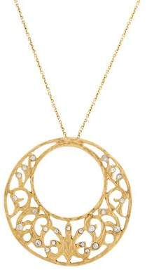 Meira T 14K Diamond Filigree Circle Pendant Necklace