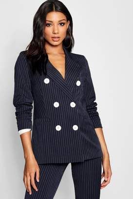 boohoo Pinstripe Double Breasted Contrast Button Blazer