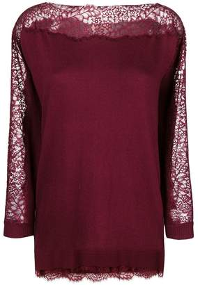 Twin-Set lace detail lightweight sweater