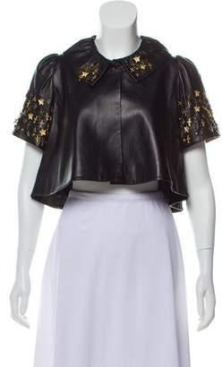 Jocelyn Embellished Leather Bolero