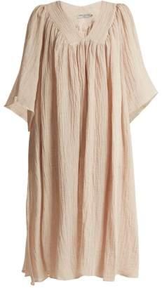 JEM THREE GRACES LONDON V-neck gathered linen-blend dress