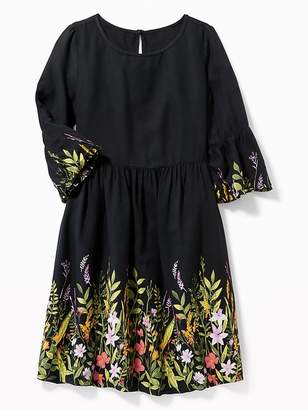 Old Navy Fit & Flare Floral Bell-Sleeve Dress for Girls