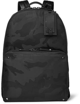 Valentino Garavani Leather-trimmed Camouflage-jacquard Shell Backpack - Black