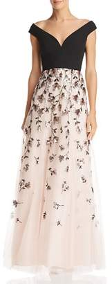 BCBGMAXAZRIA Embellished Off-the-Shoulder Gown