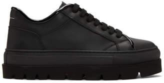 MM6 MAISON MARGIELA Black Leather Flatform Sneakers