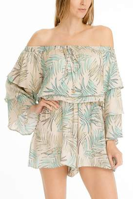 Olivaceous OTS Tiered Sleeve Romper
